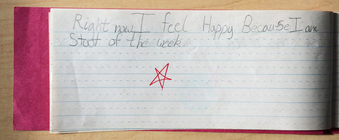 """""""Right now I feel happy because I am student of the week."""""""