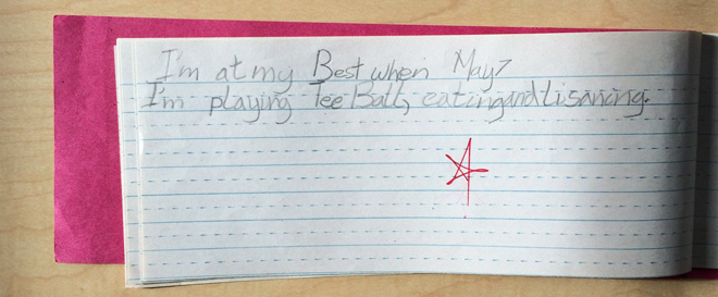 """I'm at my best when I'm playing tee ball, eating, and listening."""