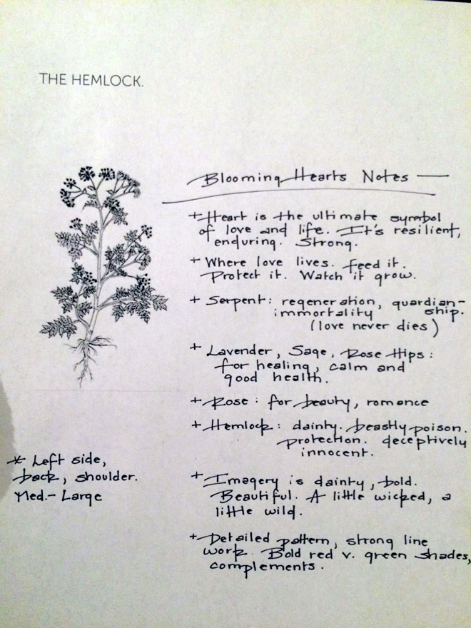 Tattoo notes; 4/4.